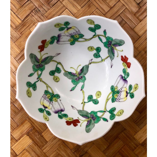 Mid Century Vintage Chinese Famille Verte Green Butterfly and Floral Porcelain Lotus Bowl For Sale - Image 10 of 10