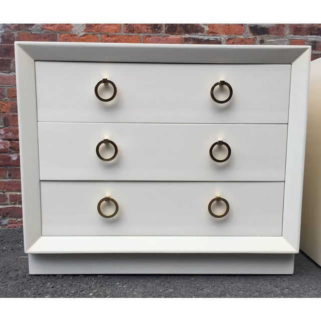 1950s Pair of t.h Robsjohn-Gibbings Lacquered Dressers for John Stuart For Sale - Image 5 of 11