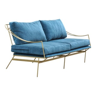 Custom 1960s Inspired Hairpin Sofa by Rehab Vintage Interiors For Sale