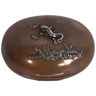 Gorham Mixed Metal Aesthetic Lizard Motif Oval Box, 1879 For Sale