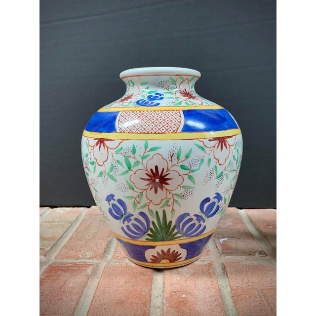 Vintage Chinese Porcelain Colorful Hand Painted Floral Vase For Sale - Image 9 of 9