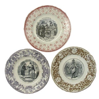 French Antique Transferware Plates - Set of 3 For Sale