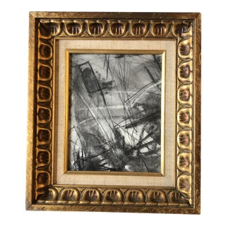 Contemporary Original Charcoal Abstract Drawing Ornate Vintage Frame For Sale