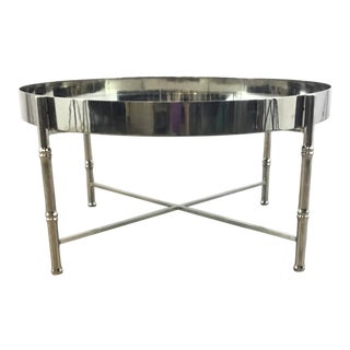 Worlds Away Modern Nickel and Mirror Margret Cocktail Table For Sale