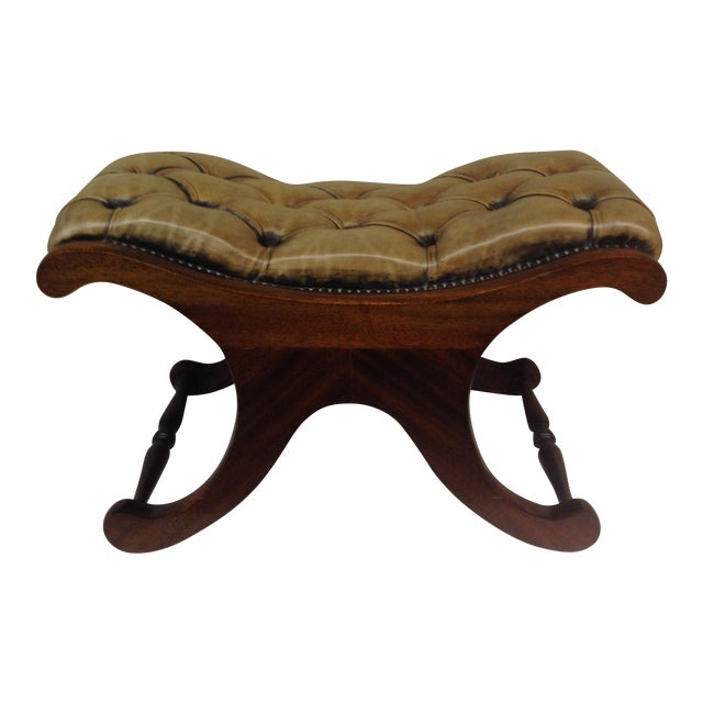 Antiqued Tufted Leather Ottoman - Image 1 of 9