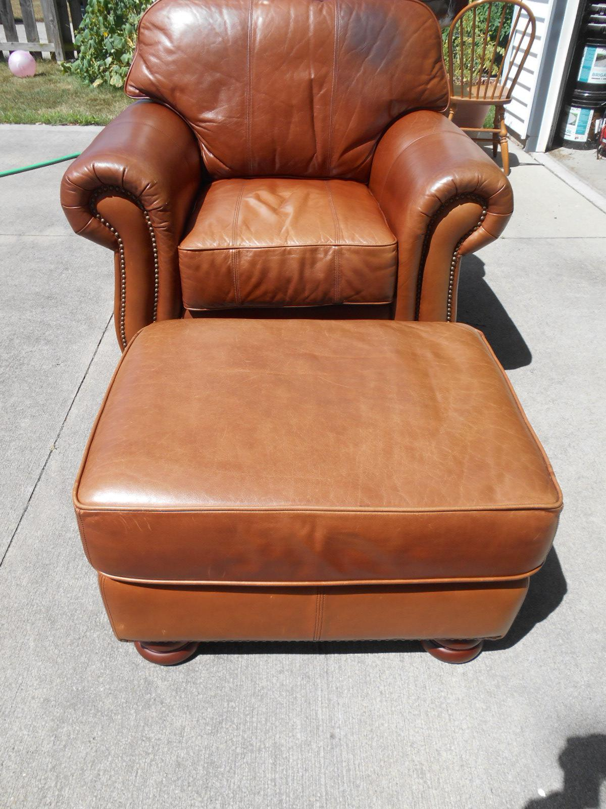 Art Deco Distress Leather Club Chair U0026 Ottoman   A Pair   Image 2 Of 10