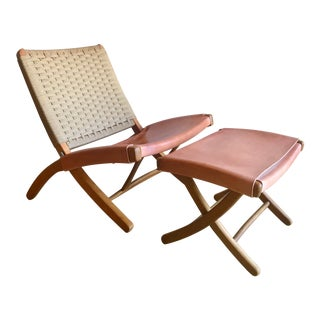 Japanese Hans Wegner Style Woven Leather and Danish Rope Cord Folding Lounge Chair and Ottoman For Sale