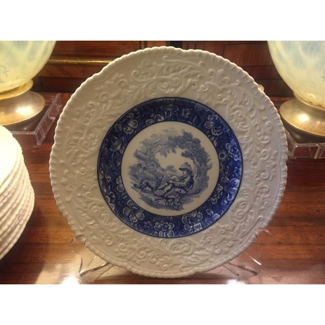 French Country Blue Transferware Charger Round Plates - Set of 12 For Sale - Image 4 of 13