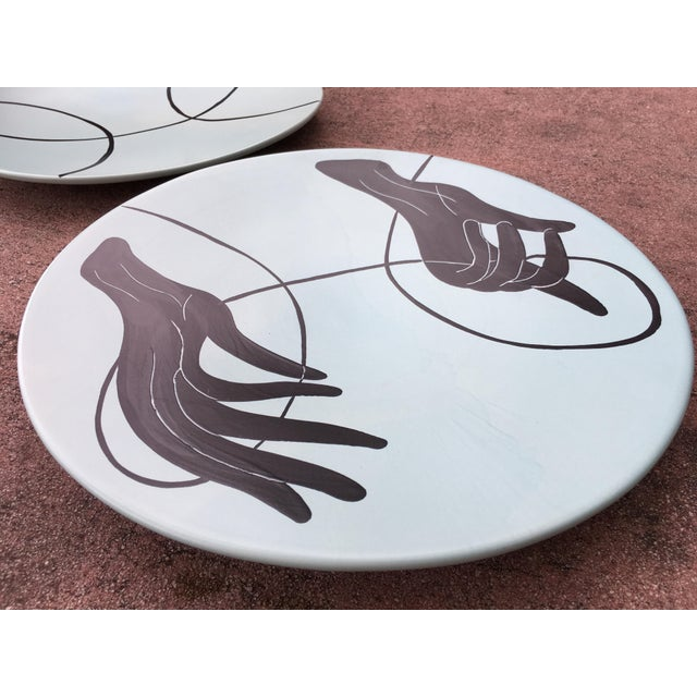 Ceramic 1990's Vintage Global Views Hand & Yarn Plates- A Pair For Sale - Image 7 of 11
