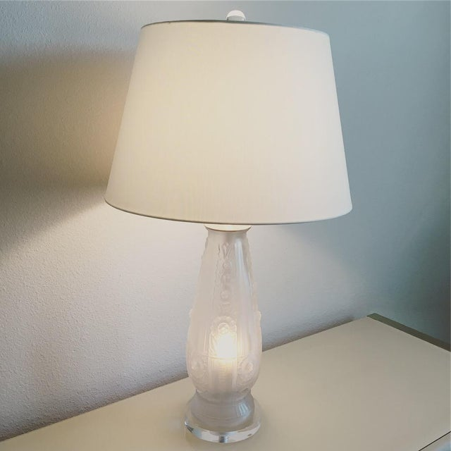 1920s Antique French Frosted Glass Lamp For Sale - Image 5 of 7