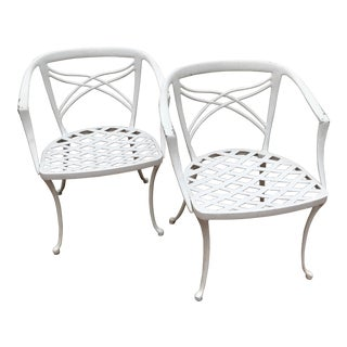 Vintage Mid-Century White Metal Chairs- a Pair For Sale