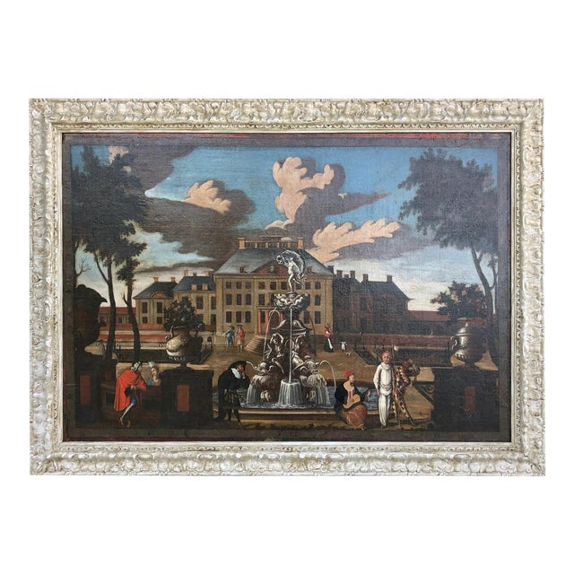 """17th Century Dutch School """"Palace Courtyard"""" Painting For Sale"""