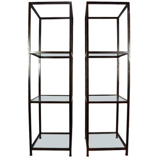 Contemporary Glass & Iron Monumental Custom Etageres - a Pair For Sale