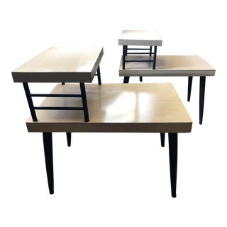 Vintage Mid Century Modern Blonde Mahogany Laminate Side Tables - a Pair For Sale