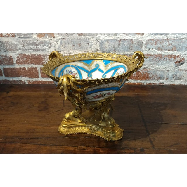 19th century Beautiful French Sevre Porcelain & Gilt Bronze Center piece For Sale - Image 10 of 10