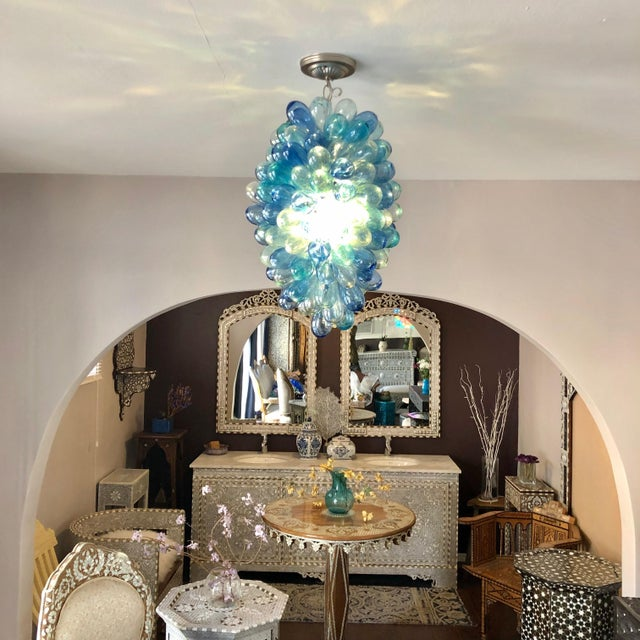 Contemporary Shades of Blues Handblown Glass Light Fixture For Sale - Image 3 of 11