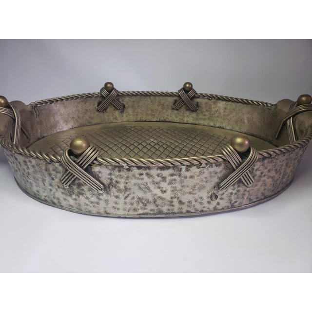 Gothic Vintage John Richard Collection Silver Plate Hammered Serving Tray For Sale - Image 3 of 13