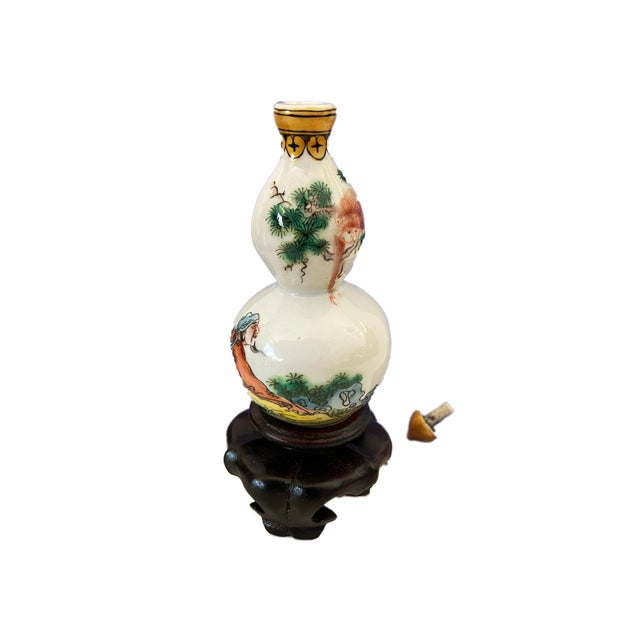 Chinoiserie Vintage Chinoiserie Porcelain Famille Rose Snuff Bottle on Stan For Sale - Image 3 of 9