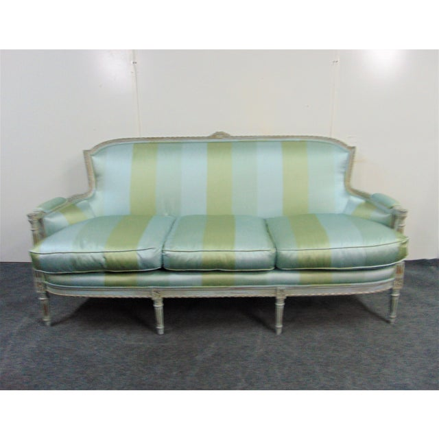 Louis XVI Hand Carved Blue Painted Silk Sofa For Sale - Image 11 of 11