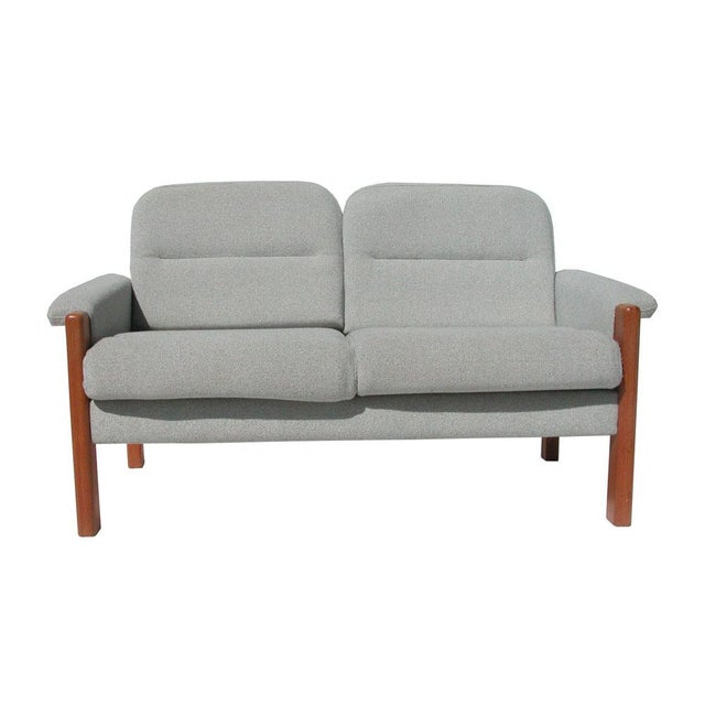 Vintage Scandinavian Grey Fabric Settee For Sale - Image 4 of 5