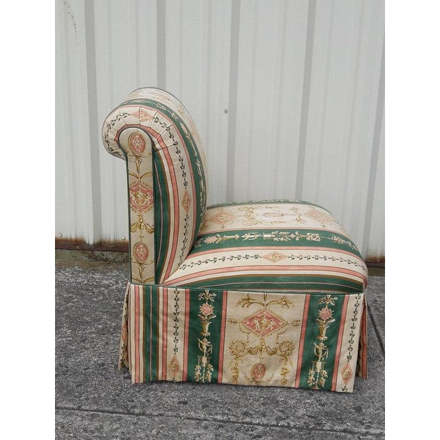 Fabric French Upholstered Cherub Neoclassical Napoleon III Slipper Chair For Sale - Image 7 of 8