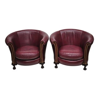 Late 20th Century Vintage Old Hickory Tannery Burgundy Leather Ball & Claw Round Club Lounge Chairs- A Pair For Sale