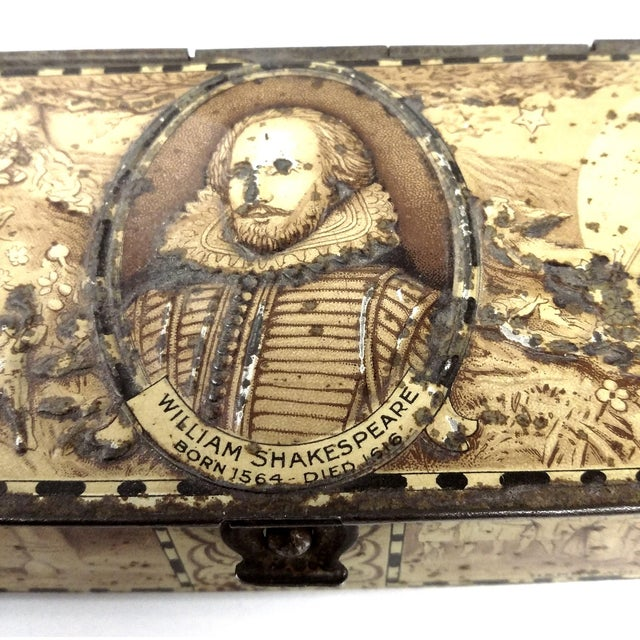 Antique Rowntree & Co Ltd York long casket style cookie and candy tin with working clasp closure and William Shakespeare...