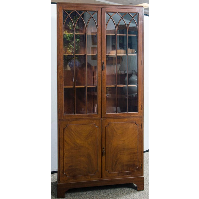 English Mahogany Display Cabinet with Gothic Glass Doors, Adam style.