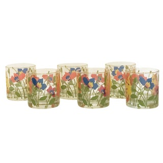 Orange, Yellow, Blue & Green Floral Glasses - Set of 6