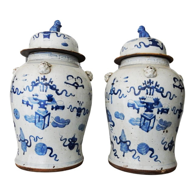 """Superb Large Chinoiserie Blue & White Ginger Jars - a Pair 23"""" H For Sale"""