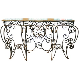 Iron Console With Verdigris Marble Top
