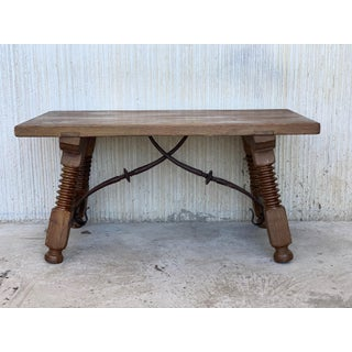 19th Spanish Side Table or Coffee Table With Iron Stretcher, Low Table Preview
