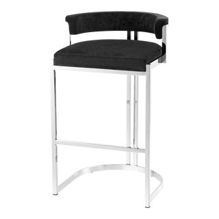 Black Velvet Counter Stool | Eichholtz Dante For Sale