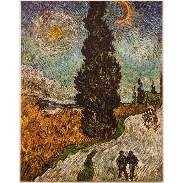 """A beautiful Post-Impressionist tipped-in lithograph after oil painting """"Road with Cypresses"""" (May, 1890) by Vincent Van..."""
