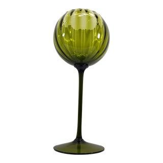 Vintage Empoli Italian Art Glass Green Tall Brandy Glass Vase For Sale
