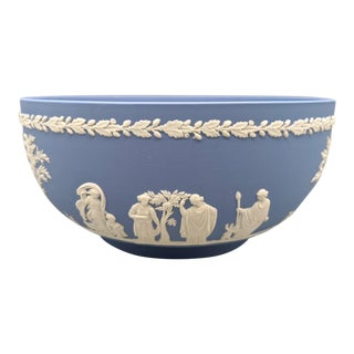 1950s English Wedgwood Jasperware Blue and White Bowl For Sale
