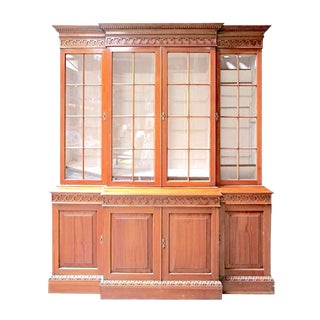 English Pine Nautical Breakfront Cabinet For Sale