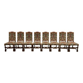 Rare Jacobean Style Hand Carved Dining Chairs Original Embroidered Upholstery- Set of 8 For Sale