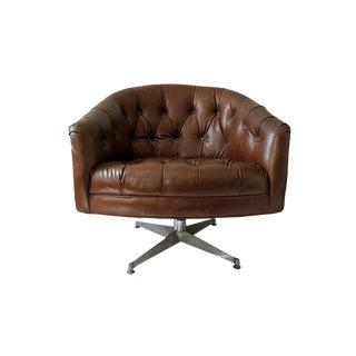 1970's Ward Bennett Tufted Brown Leather Naugahyde Swivel Chair