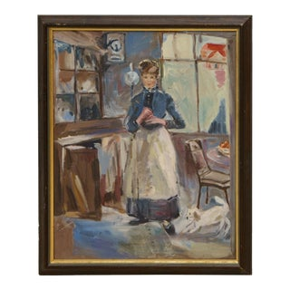 Victorian Styled Woman With Dog Painting, Framed For Sale