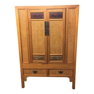 1980s Asian Modern Wooden Cabinet For Sale