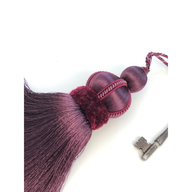 Mulberry key tassel with hand cut velvet ruche, decorative gimp and twisted cord detail. **Please note: Vintage key is not...