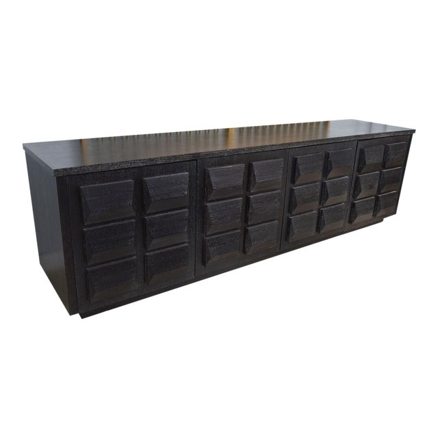 Monumental Ebonized Four-Door Credenza or Buffet by Jamie Herzlinger For Sale