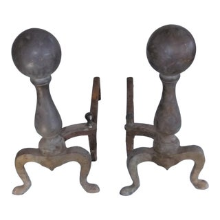 Late 20th Century Vintage Rostand Brass Cannon Ball & Cast Iron Fireplace Andirons- A Pair For Sale