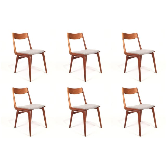 Vintage Erik Christensen for Slagelse Mobelfabrik Danish Teak Boomerang Chairs - Set of 6 For Sale In Seattle - Image 6 of 6
