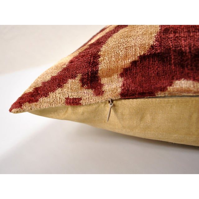 Super soft Silk Velvet pillow with colors of Marsala on Beige. The back of the pillow is a poly silk Bronze fabric with...