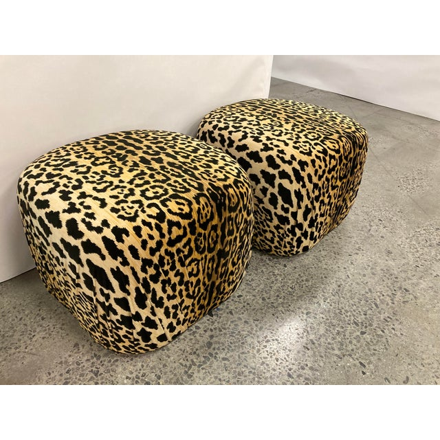 Black Vintage Poof Ottomans, a Pair For Sale - Image 8 of 8