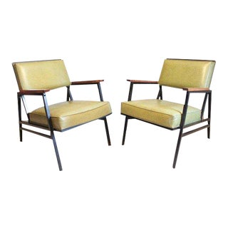 1970s Mid-Century Modern Steelcase Green Upholstered Metal Lounge Chairs - a Pair