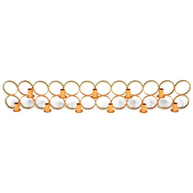 Orange Orange Lacquered Wrought Iron Wall-Mounted Candelabra For Sale - Image 8 of 9