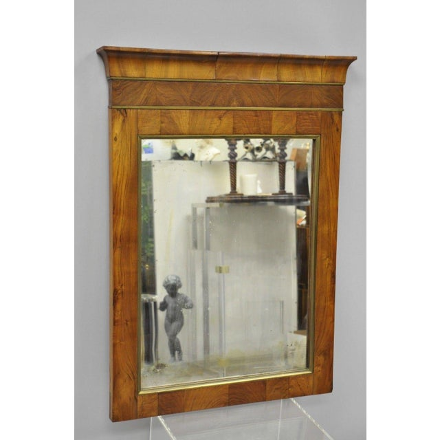 Empire 19th Century Vintage American Empire Crotch Mahogany Looking Glass Wall Mirror For Sale - Image 3 of 12